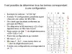 il est possible de d terminer tous les termes correspondant une configuration