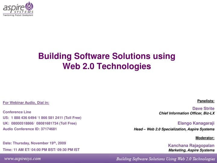 Building software solutions using web 2 0 technologies