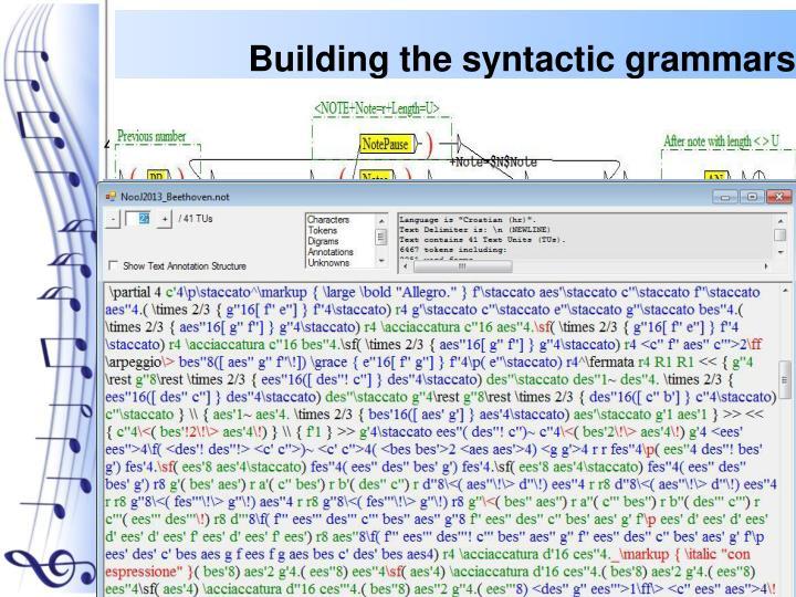 Building the syntactic grammars