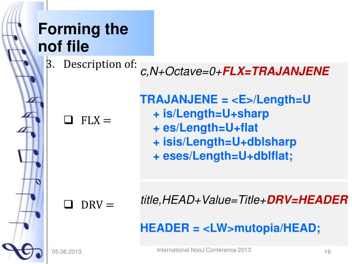 Forming the nof file