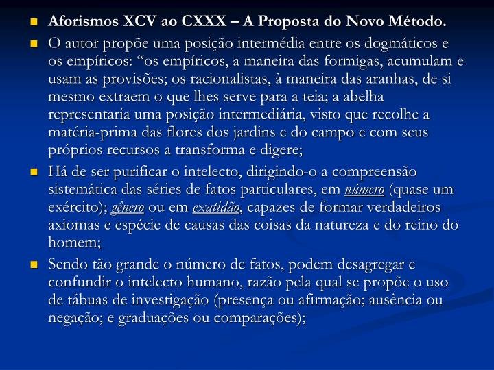 Aforismos XCV ao CXXX – A Proposta do Novo Método.
