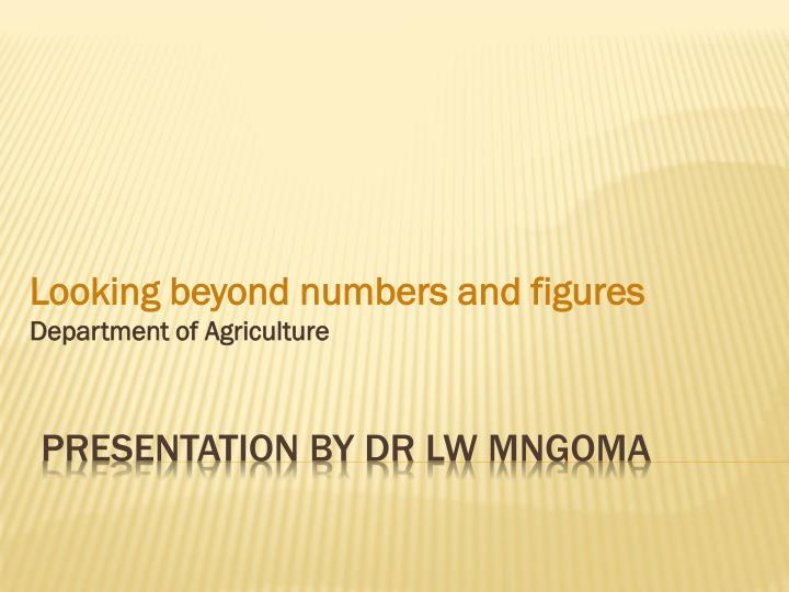 looking beyond numbers and figures department of agriculture n.