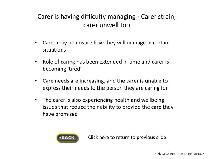 Carer is having difficulty managing -