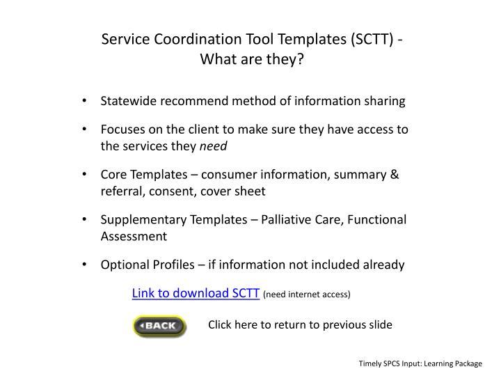 Service Coordination Tool Templates (SCTT) -