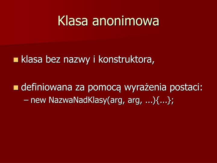 Klasa anonimowa