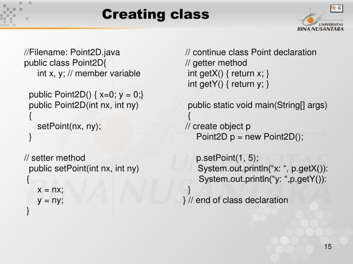 Creating class