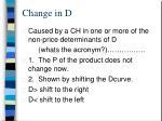 change in d