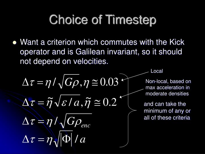 Choice of Timestep