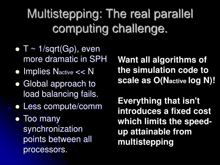 Multistepping: The real parallel computing challenge.
