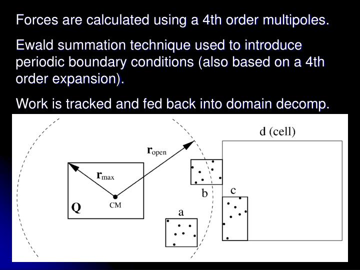 Forces are calculated using a 4th order multipoles.