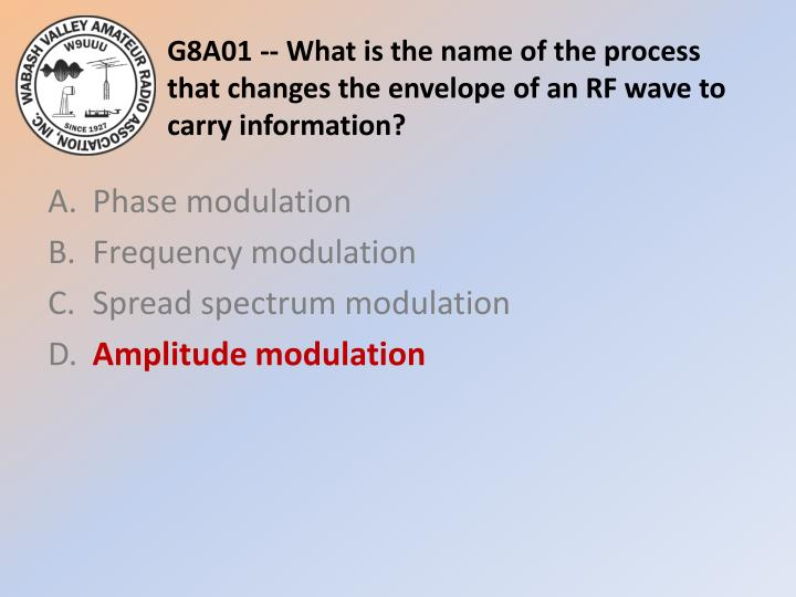 G8A01 -- What is the name of the process that changes the envelope of an RF wave to carry information?