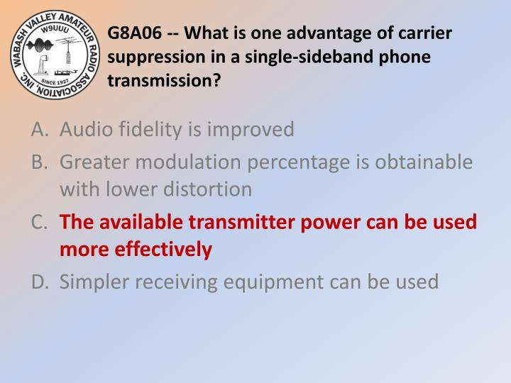 G8A06 -- What is one advantage of carrier suppression in a single-sideband phone transmission?