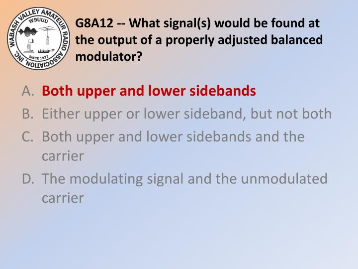 G8A12 -- What signal(s) would be found at the output of a properly adjusted balanced modulator?