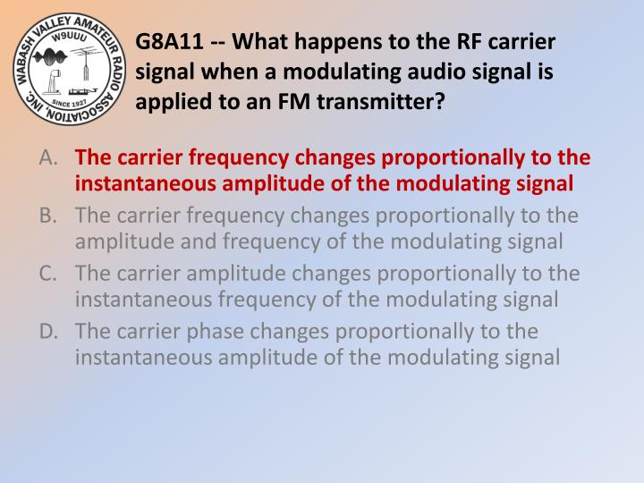G8A11 -- What happens to the RF carrier signal when a modulating audio signal is applied to an FM transmitter?