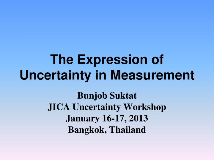 the expression of uncertainty in measurement n.