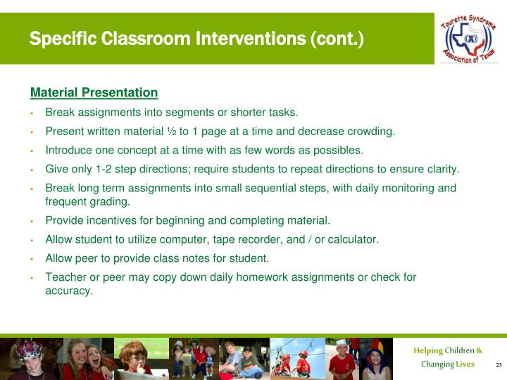 classroom interventions essay Brief strategies for vocabulary development (stahl 5) words that are new to students but represent familiar concepts can be addressed using a number of relatively quick instructional tactics many of these (eg, synonyms, antonyms, examples) are optimal for prereading and oral reading, which call for more expedient approaches.
