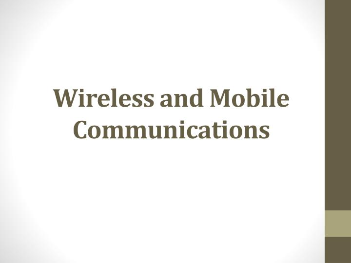 wireless and mobile communications n.