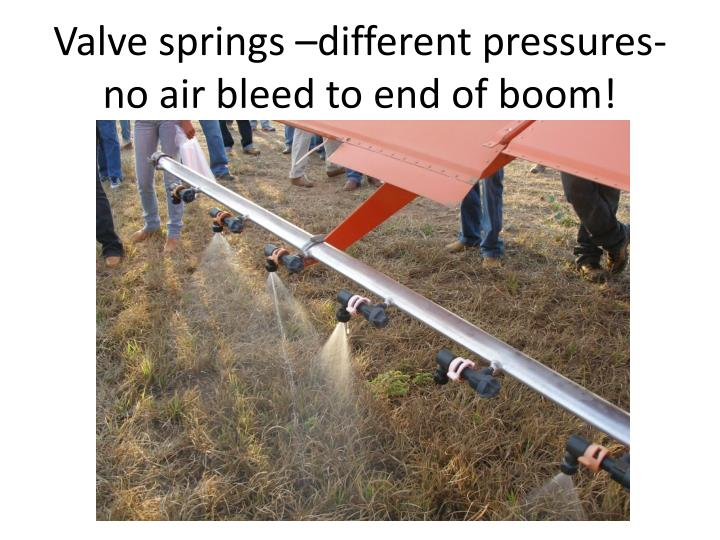 Valve springs –different pressures-no air bleed to end of boom!