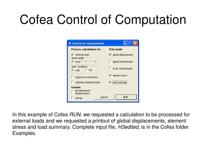 Cofea Control of Computation