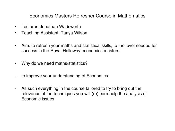 economics masters refresher course in mathematics n.