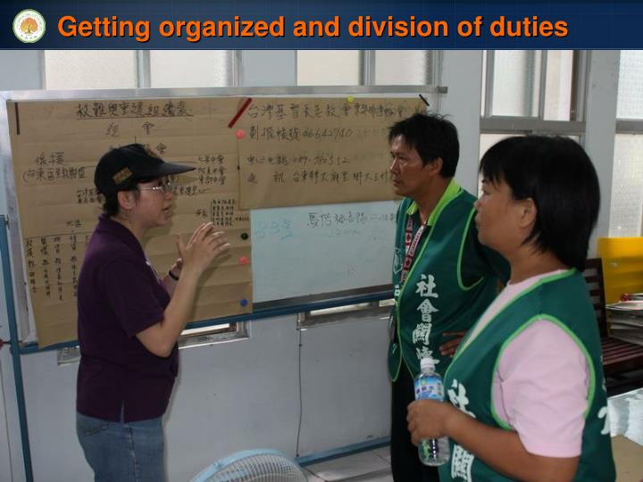 Getting organized and division of duties