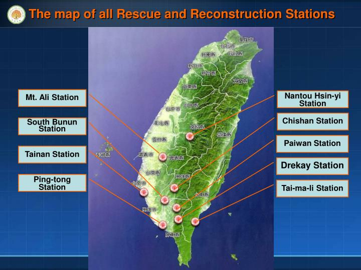 The map of all Rescue and Reconstruction Stations