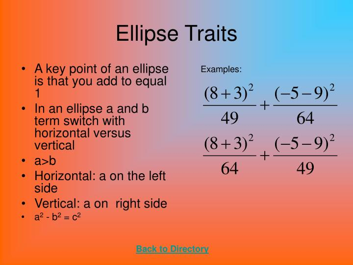 Ellipse Traits