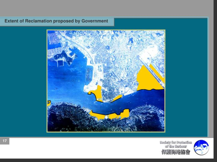 Extent of Reclamation proposed by Government