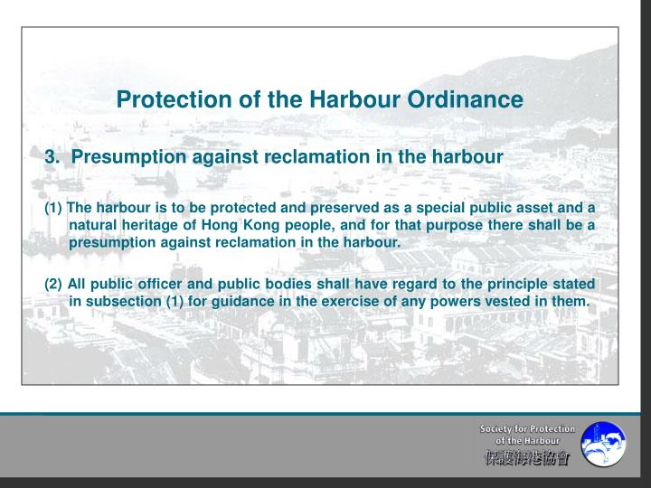 Protection of the Harbour Ordinance