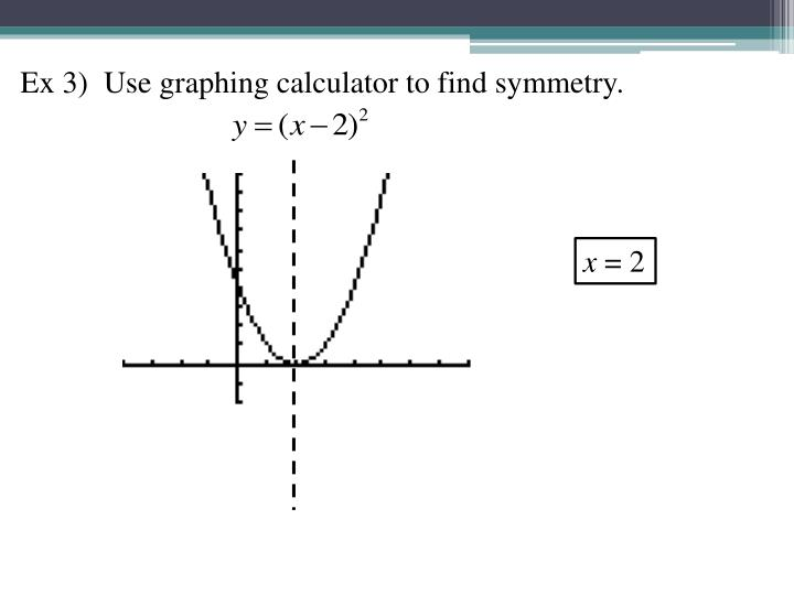 Ex 3)  Use graphing calculator to find symmetry.