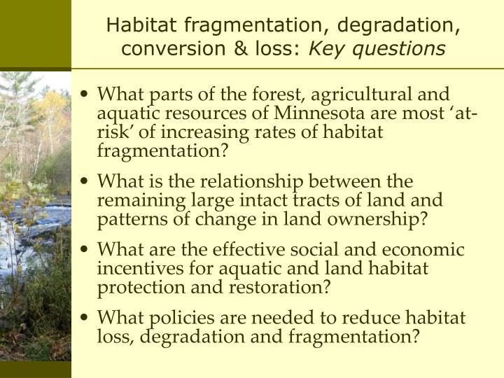 Habitat fragmentation, degradation, conversion & loss: