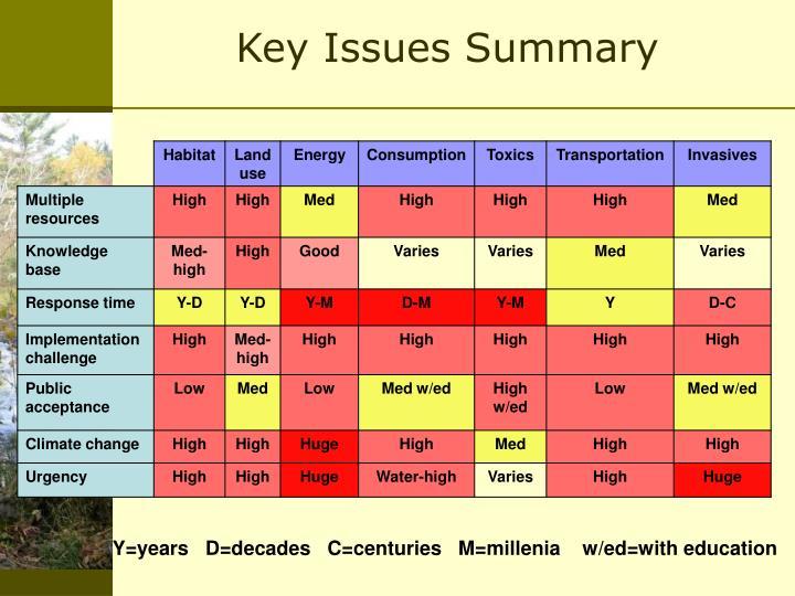 Key Issues Summary