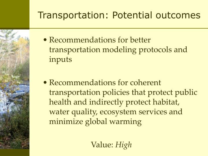 Transportation: Potential outcomes