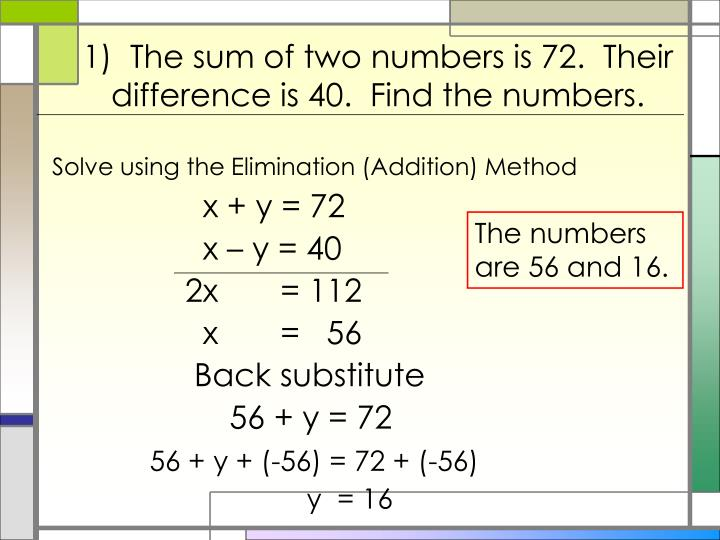 1)  The sum of two numbers is 72.  Their difference is 40.  Find the numbers.
