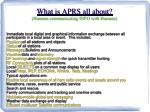 what is aprs all about humans communicating info with humans