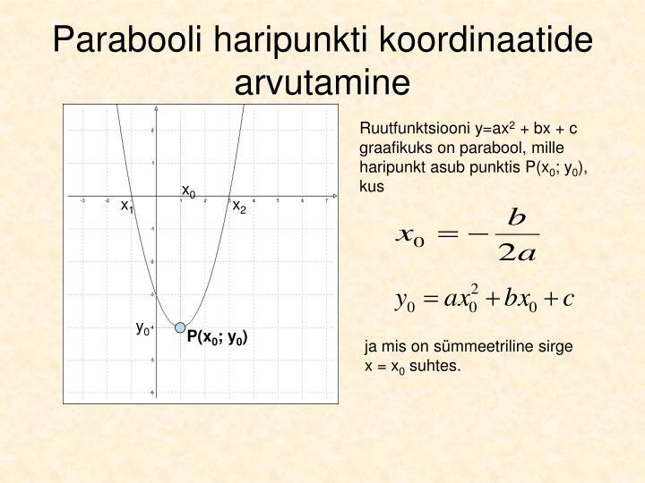 Parabooli haripunkti koordinaatide arvutamine