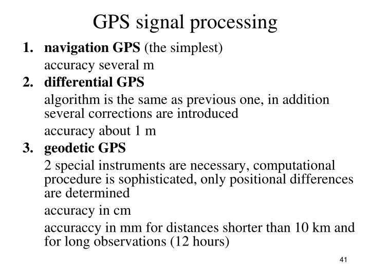 GPS signal processing
