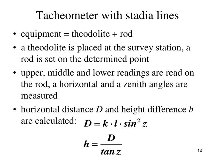 Tacheometer with stadia lines