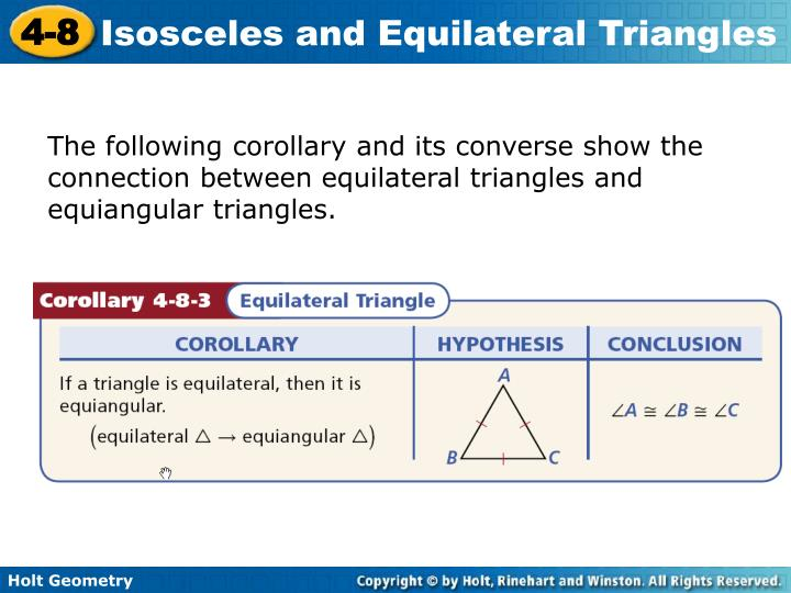 The following corollary and its converse show the connection between equilateral triangles and equiangular triangles.