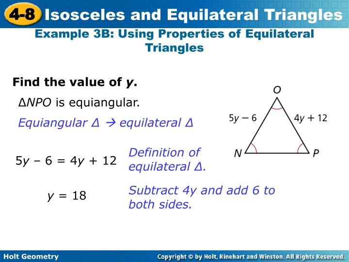 Example 3B: Using Properties of Equilateral Triangles