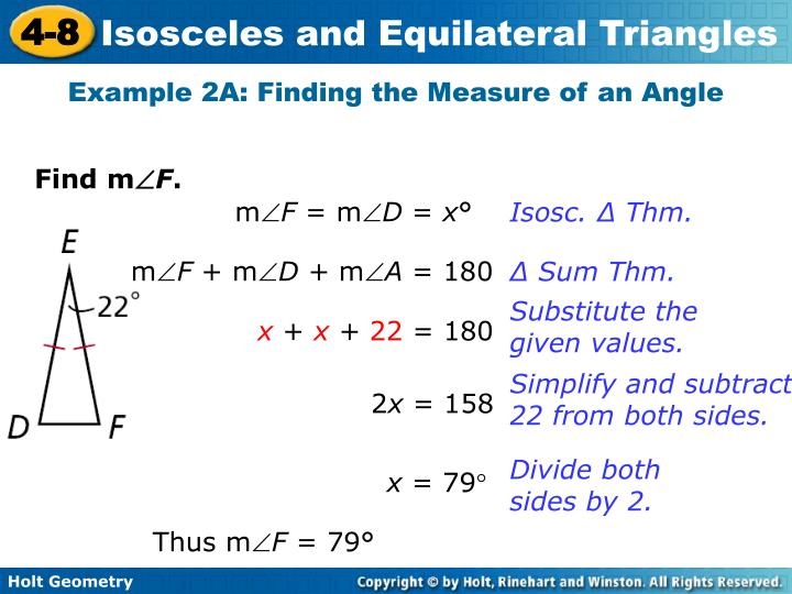 Example 2A: Finding the Measure of an Angle
