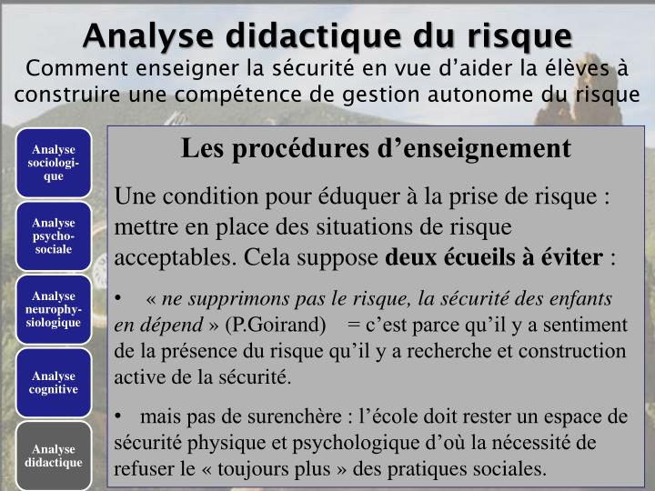Analyse didactique du risque