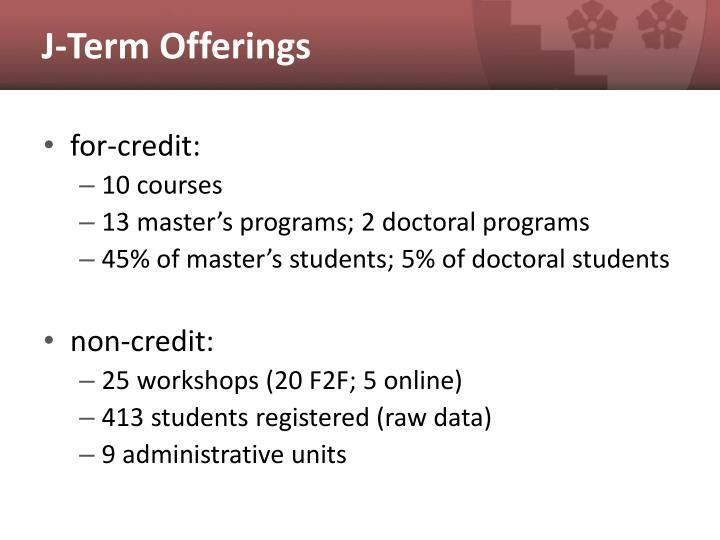 J term offerings