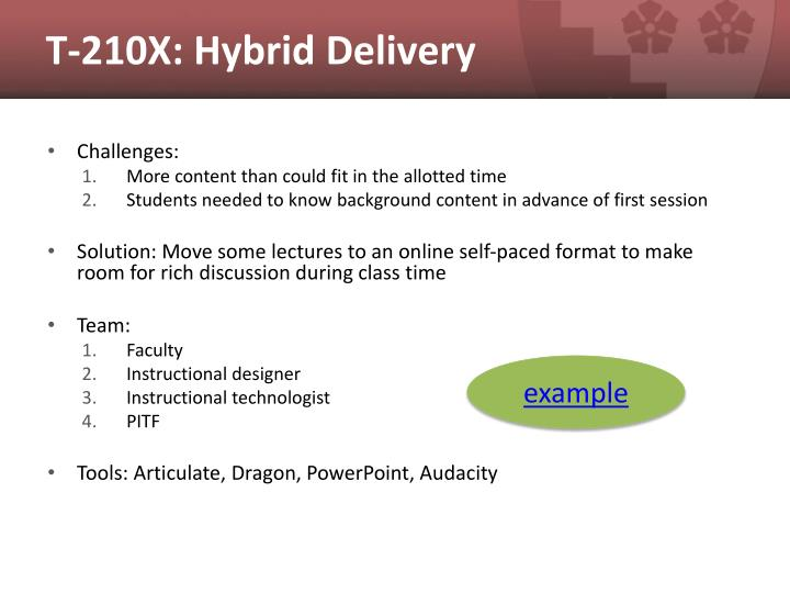 T-210X: Hybrid Delivery