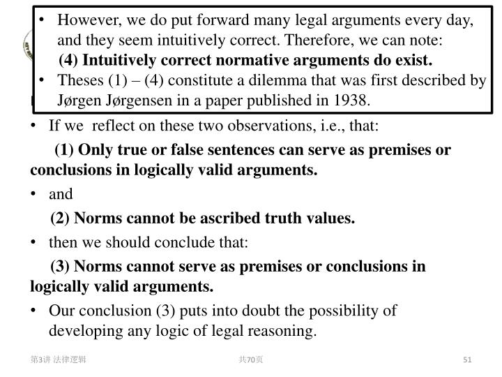 However, we do put forward many legal arguments every day, and they seem intuitively correct. Therefore, we can note: