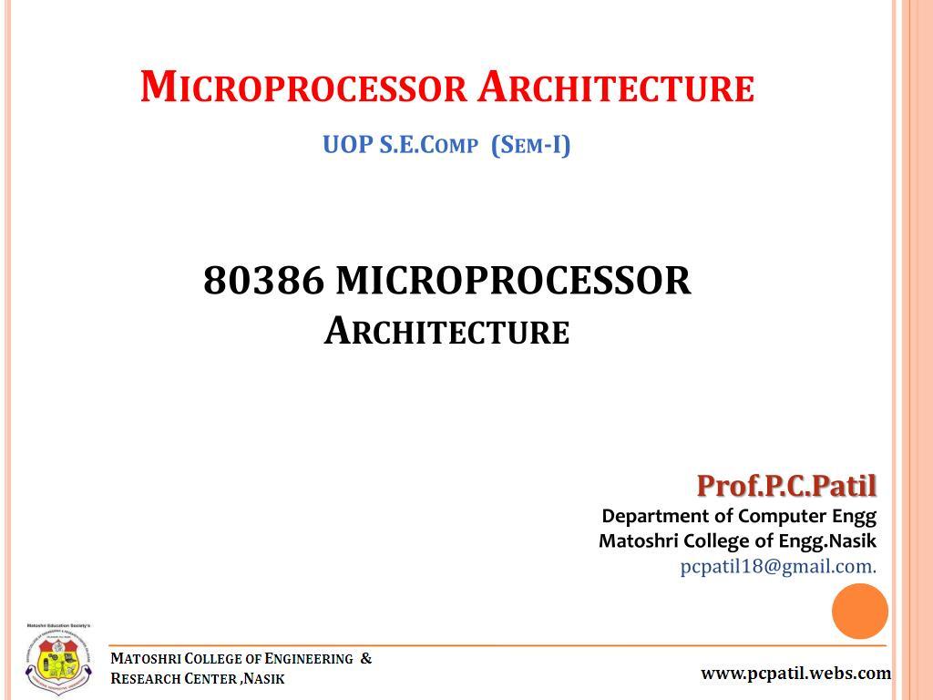 PPT - 80386 MICROPROCESSOR Architecture PowerPoint Presentation - ID:4847163