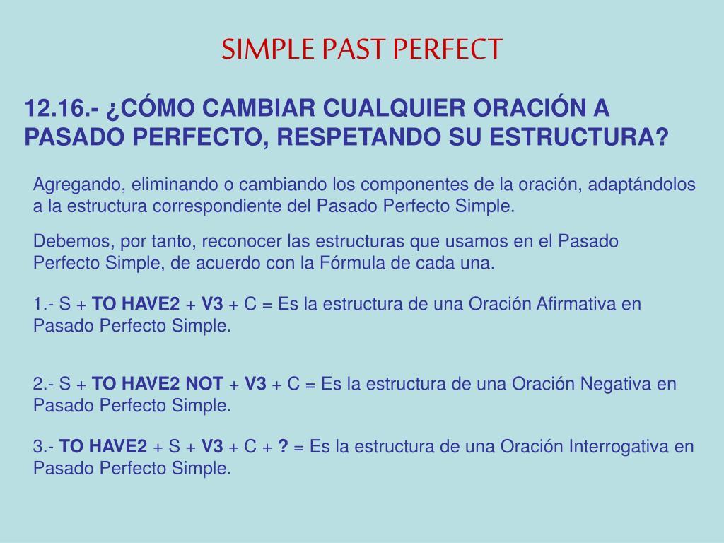 Estructura Gramatical Del Past Perfect Simple - 2021 idea ...