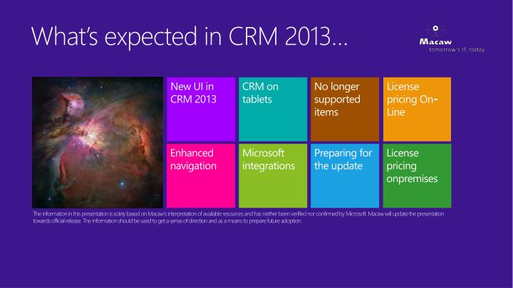 what s expected in crm 2013 n.