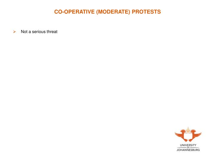 CO-OPERATIVE (MODERATE) PROTESTS