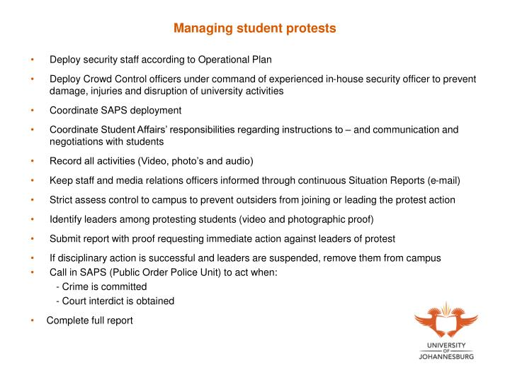 Managing student protests
